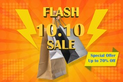 October 10th or 10.10 flash sale poster for shopping promotion idea.