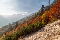 October trekking in the mountains of Val Pesarina, Friuli-Venezia Giulia.