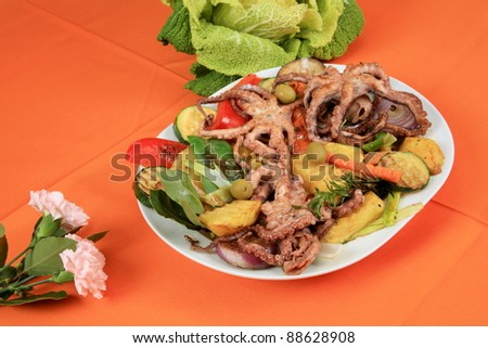 Octopus salad with vegetables