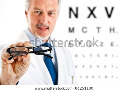Oculist giving you a pair of glasses