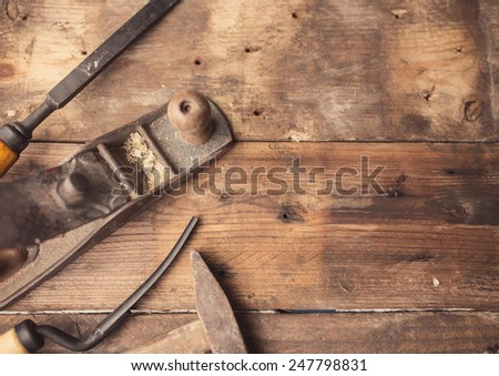 od vintage hand tools on wooden ...