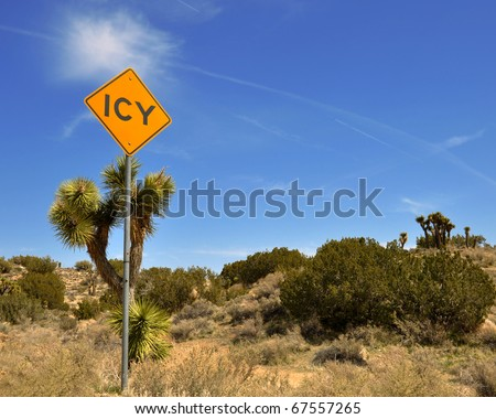 Odd road sign in the Mojave Desert, California.