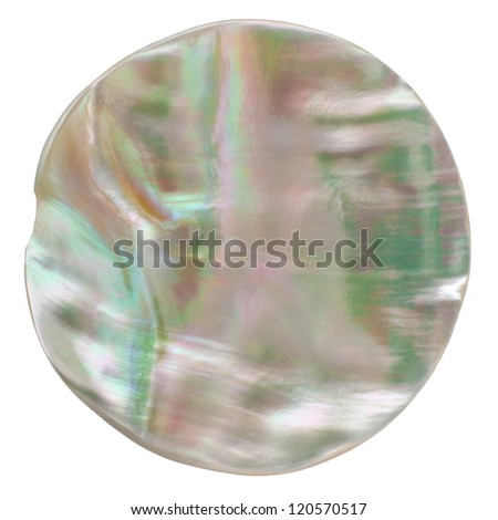 Odd Shaped Iridescent Button isolated on white background with clipping path