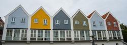 Odense, Denmark: Beautiful multicolored facades of buildings
