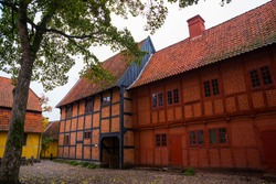 Odense, Denmark: Old homes in cobbled streets in Odense, the city of Hans Christian Andersen