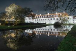 Odense slot (castle).  Night photo. Denmark.