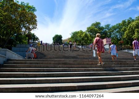 Odessa,  Odessa Oblast / Ukraine July 24 2018:  Potemkin Stairs in Odessa