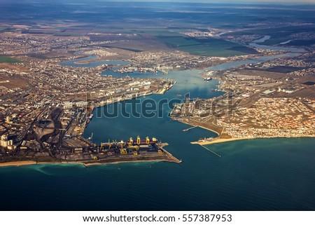Odessa port aeral view, Ukraine, Yuzhny seaport #557387953