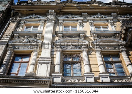 ODESSA, UKRAINE - August 2018: Old historical house under reconstruction in Odessa downtown, Ukraine