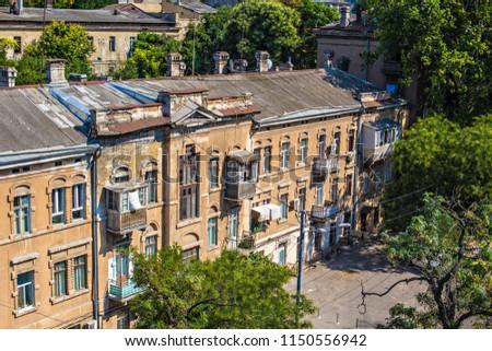 ODESSA, UKRAINE - August 2018: Old house in Odessa downtown, Ukraine