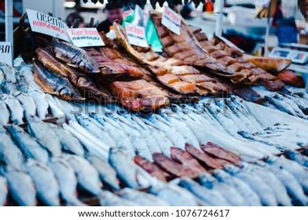 ODESSA, UKRAINE - 04.24.2018. Dried and smoked fish at the fish market. Pryvoz (Privoz) Market,  Odessa, Ukraine.