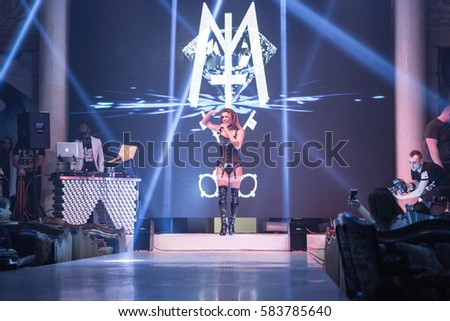 Odessa, Ukraine February 16, 2017: Melody Thornton ex PussyCat Dolls. Artist performs songs from stage during concert club #583785640