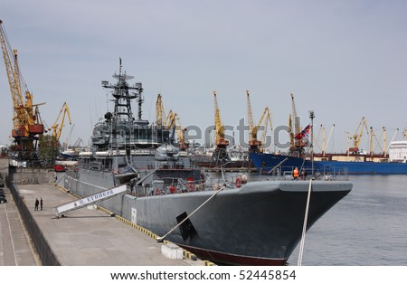 ODESSA, UKRAINE - MAY 5, 2010: Russian military ship «Caesar Kunikov» arrived to Odessa`s port, to take part in celebration victory day. 2010 may 5th, Odessa, Ukraine