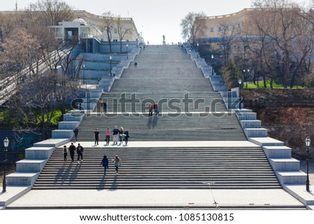 ODESSA, UKRAINE - 04.20.2018. Potemkin stairs. The stairs are considered a formal entrance into the city from the direction of the sea and are the best known symbol of Odessa. Odesa Stairs.