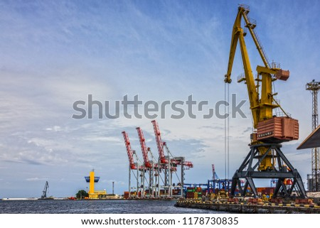 Odessa, Ukraine - Sep 13, 2018: Container terminal of Odessa sea commercial port.
