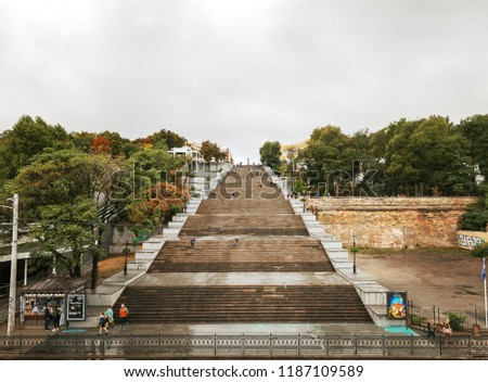Odessa, Ukraine - Sep 10, 2018: Potemkin Stairs is a giant stairway in Odessa. Stairs are considered a formal entrance into the city from the direction of sea and are the best known symbol of Odessa