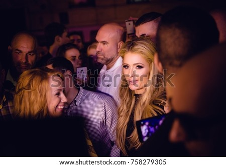 Odessa, Ukraine September 30, 2016: Ministerium night club. crowd meets Paris Hilton at entrance to club. Fans meet celebrity