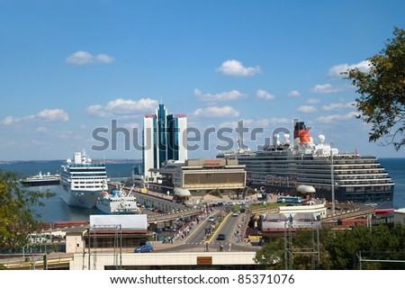 ODESSA, UKRAINE - SEPTEMBER 04: Queen Victoria (Cunard) and Nautica (Oceania Cruises) in Odessa on September 04, 2011 in Odessa, Ukraine. QV's the third visit. Nautica regularly comes in port. - stock photo