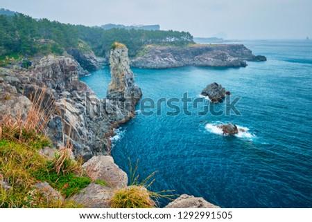 Oedolgae Rock tourist attraction, Jeju island, South Korea