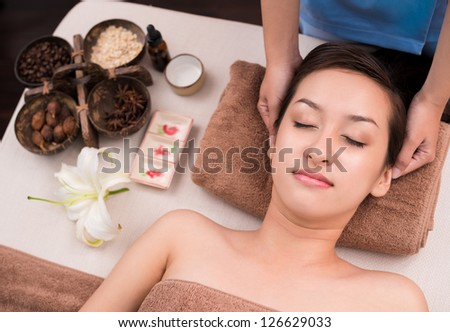 of a woman's face in spa salon