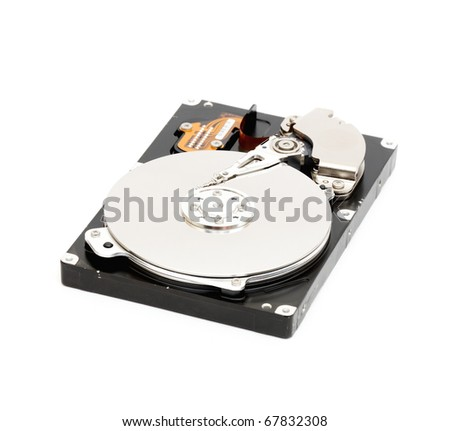of Hard disk drive HDD isolated on white background with soft shadow.