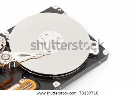 of Hard disk drive HDD on white background with soft shadow