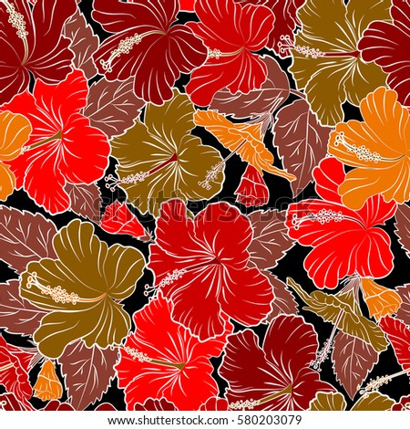 Of Hawaiian Aloha Shirt Design In Brown Orange And Red Colors On A Black Background