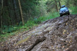 Off-road Action in the forest, 4x4, mud and vehicle