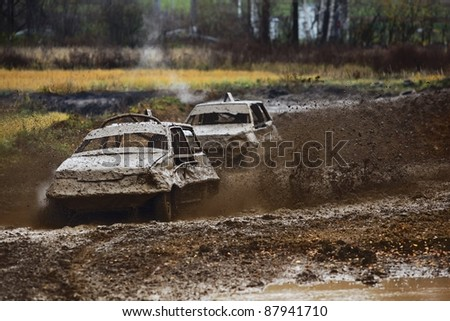 Auto Racing Subscription on Off Road Auto Racing  Two Race Cars Wrestling For Survival Stock Photo