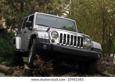 Off road car in forest