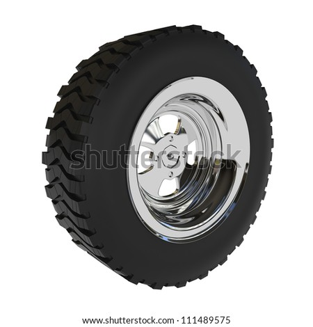 Off-road Car Wheel isolated on white - 3d illustration