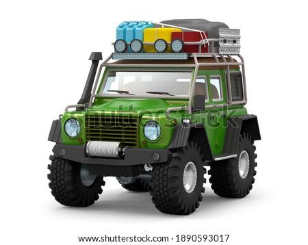 off-road SUV cartoon for desert sand adventure. 3d illustration