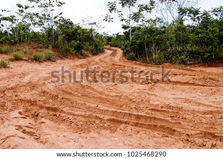 Off road trail at Chapada dos Guimarães,  a city located in central Brazil, 62 km from the city of Cuiaba, the capital of Mato Grosso State. It is the geographic center of South America. #1025468290