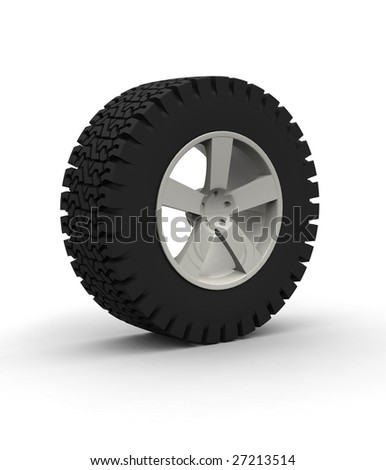 Off-road Wheel with aluminium rim over the white background