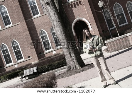 Off to college-student on a college campus-muted colors for a nostalgic feel