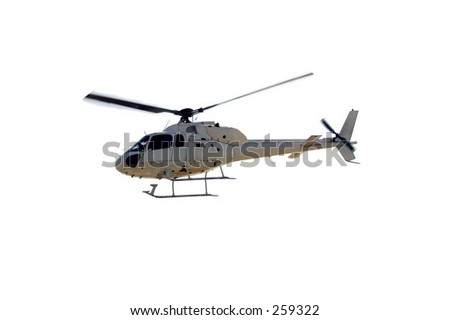 Off-White Helicopter flying over a PURE WHITE background.