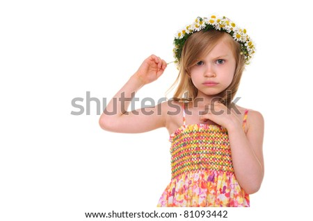 offended girl with wreath of daisies isolated on white
