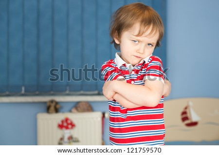 Offended Little Boy In His Room Stock Photo 121759570