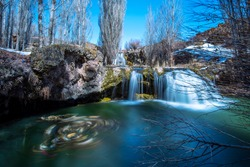 Offering a different view every season, Muradiye Waterfall offers a magnificent view due to the strong flow power of the bend-i mahi tea. Van, Turkey.