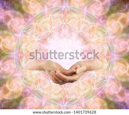 Offering the Flower of Life Blessing - Female cupped hands emerging from a flower of life symbol against a symmetrical repeated circle vortex pattern