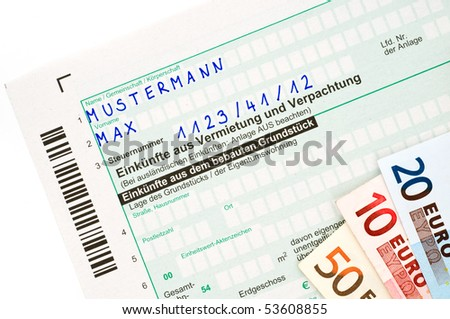 Offical German tax form for the tax year 2009 without personal informations