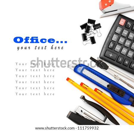 Office accessories on a white background. - stock photo