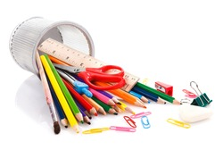 office and school gear over white background