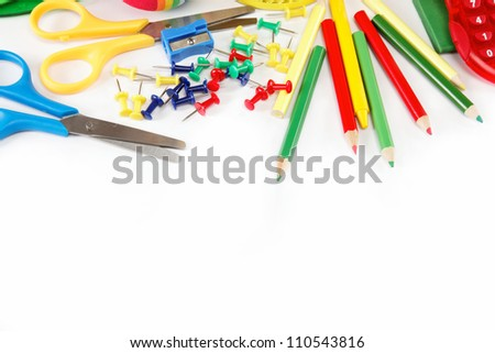 office and student accessories isolated on a white background. Back to school concept.