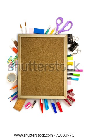 office and student tool over white background
