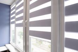 Office blinds. Modern jalousie. Office meeting room lighting range control