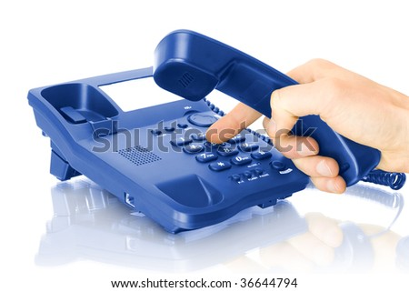 office blue telephone with hand isolated on white