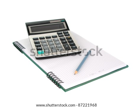 Office book with a pencil and a calculator on a white background