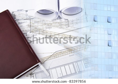 Office building and blueprint rolls, business collage