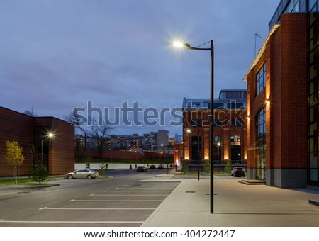 Office building. Architecture lighting, street lamps. #404272447